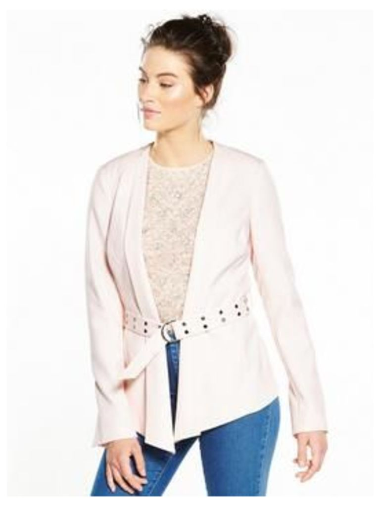 V by Very D Ring Belted Jacket, Blush, Size 8, Women