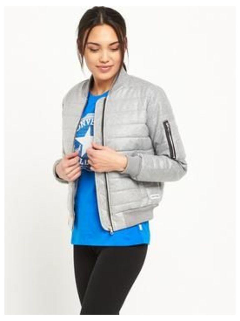 Converse Coated Jersey Primaloft Jacket , Vintage Grey Heather, Size Xs, Women