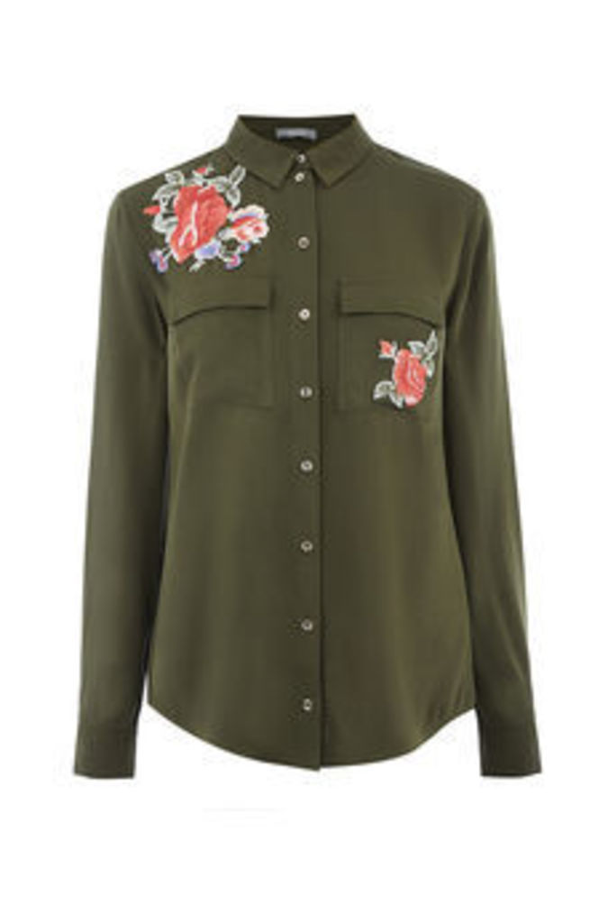 EMBROIDERED ROSE SHIRT