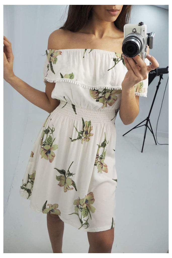 Bertie White floral print bardot dress