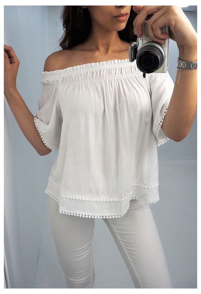 Tina white bardot pompom trim top