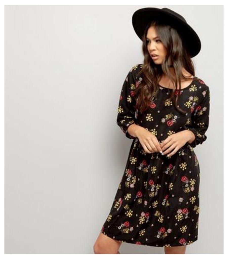 Apricot Black Ditsy Floral Print Smock Dress