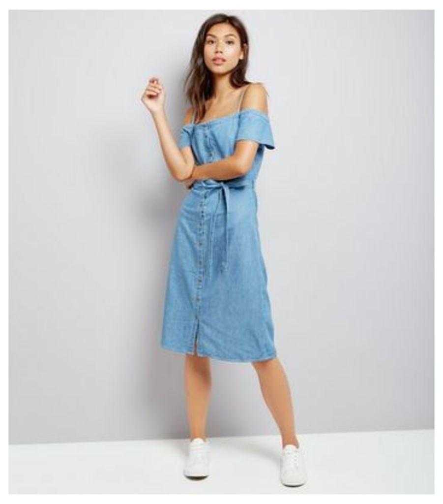 Blue Button Front Cold Shoulder Denim Midi Dress