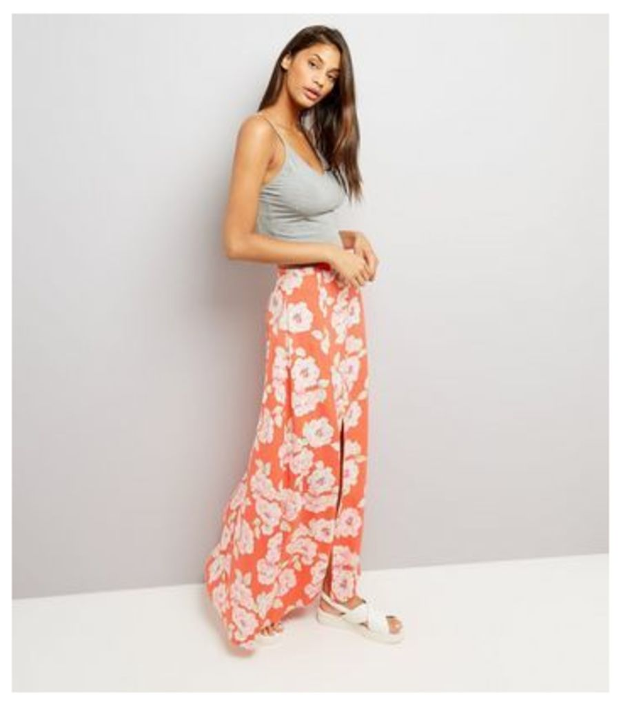 Red Floral Print Button Front Maxi Skirt