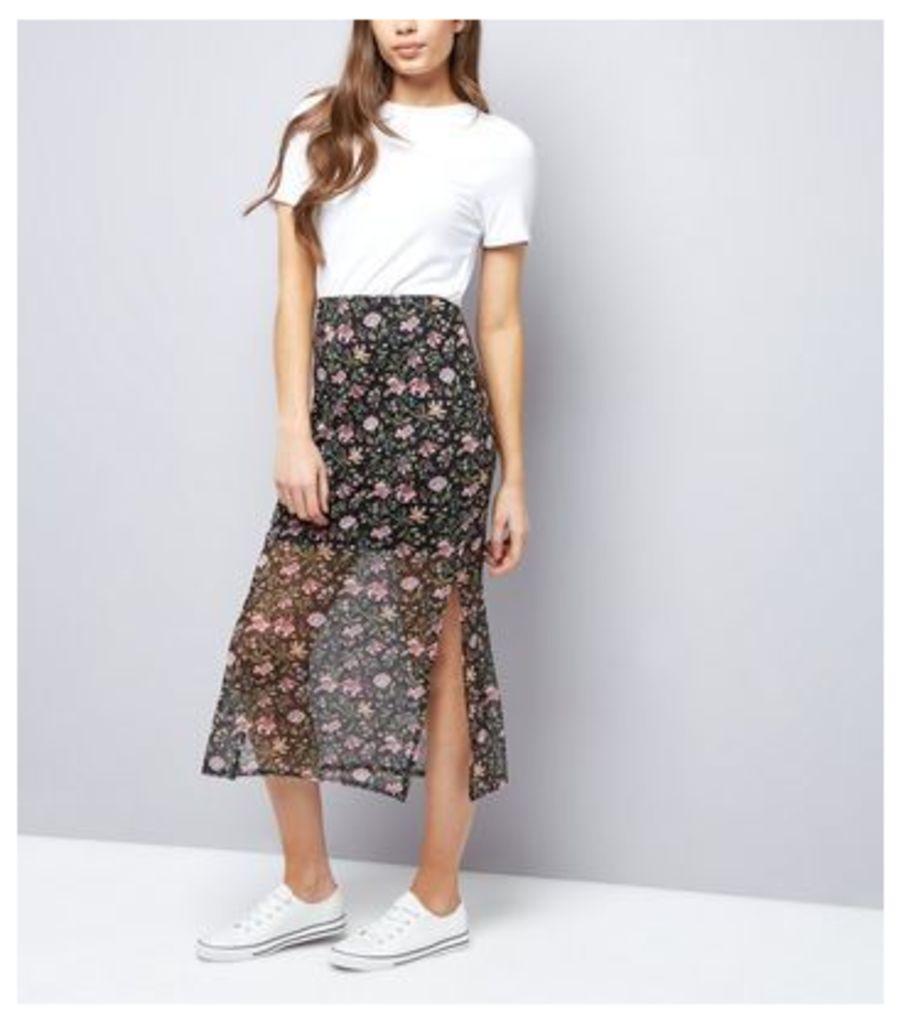 Black Floral Print Mesh Midi Skirt