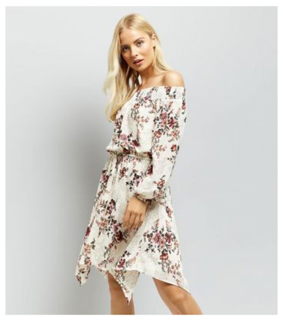 Cream Floral Print Chiffon Hanky Hem Dress