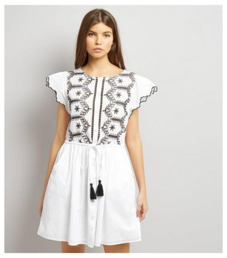 White Cut Out Short Sleeve Skater Dress