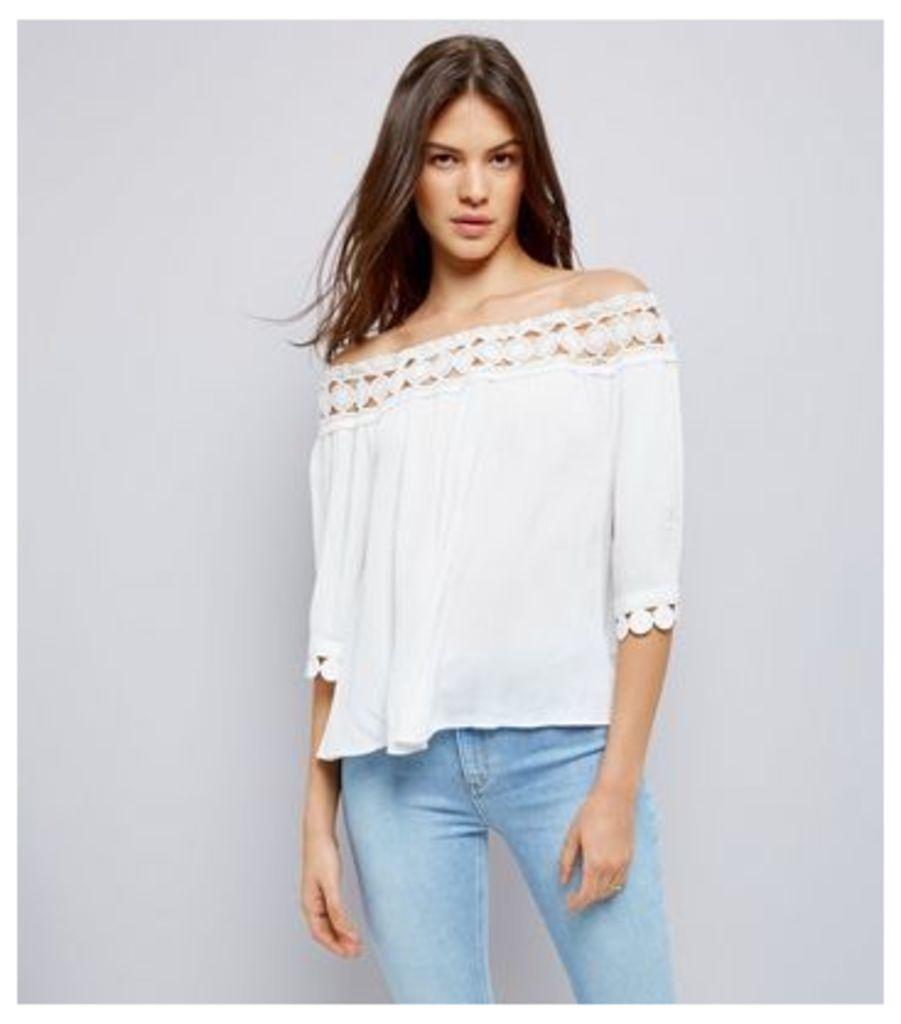 Cameo Rose White Crochet Bardot Top