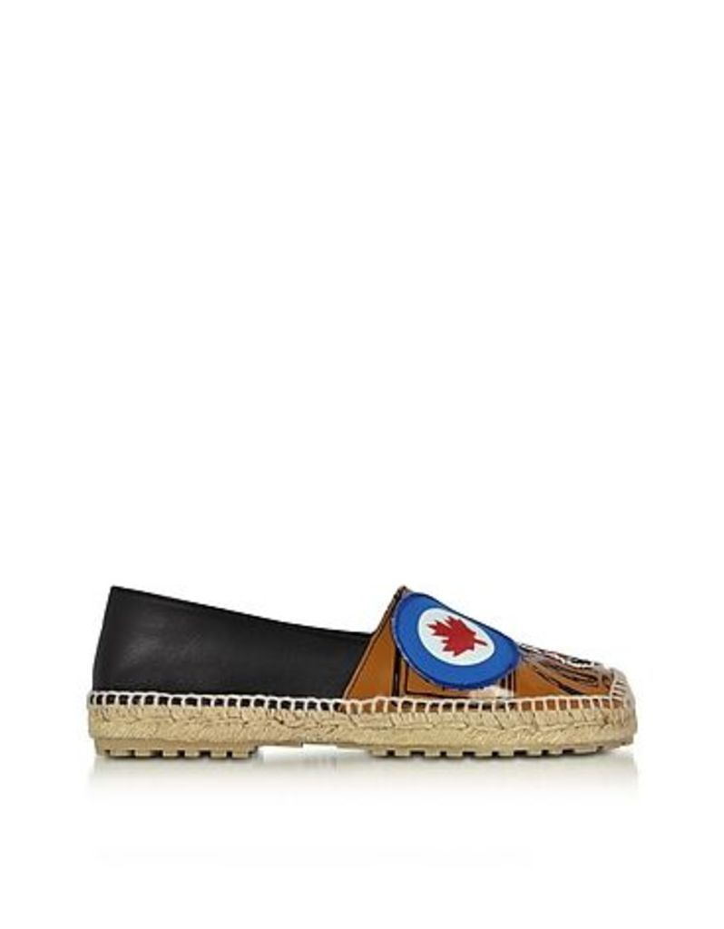 DSquared2 - Hackney Black and Beige Nappa Leather Flat Espadrilles w/Patches