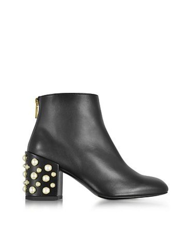 Stuart Weitzman - Pearlbacari Black Nappa Leather Heel Ankle Boots w/Pearls