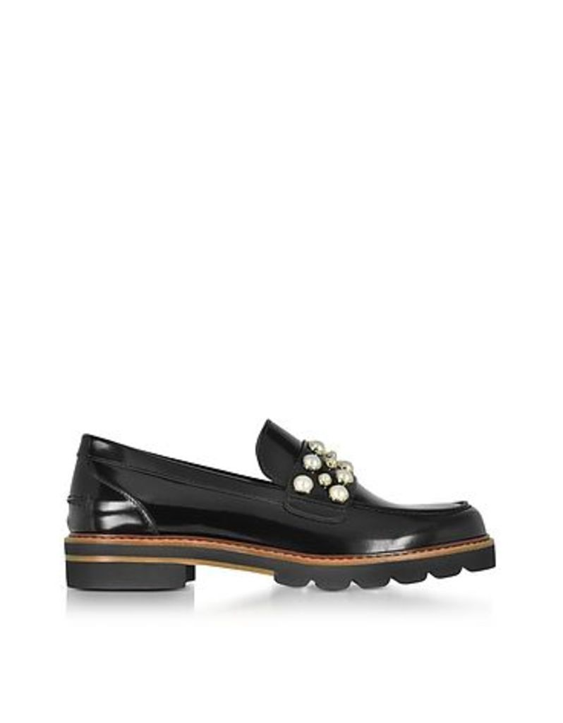 Stuart Weitzman - Mocpearl Jet Mirror Leather Loafers w/Pearls