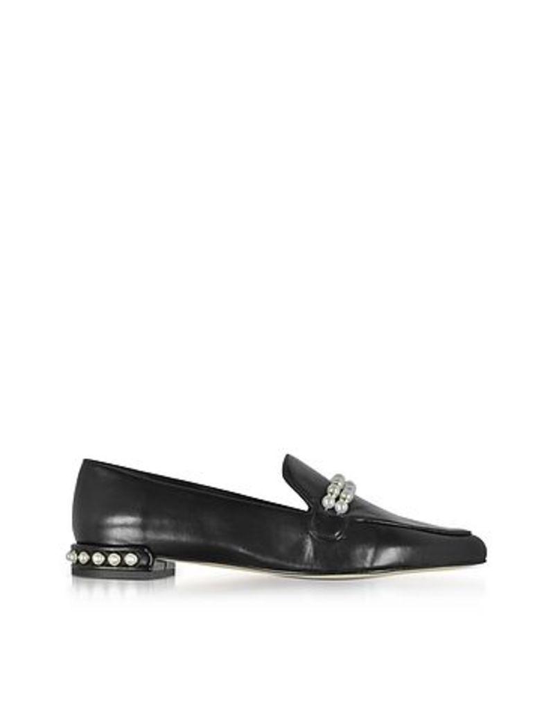Stuart Weitzman - Guam Black Nappa Leather Loafers w/Pearls