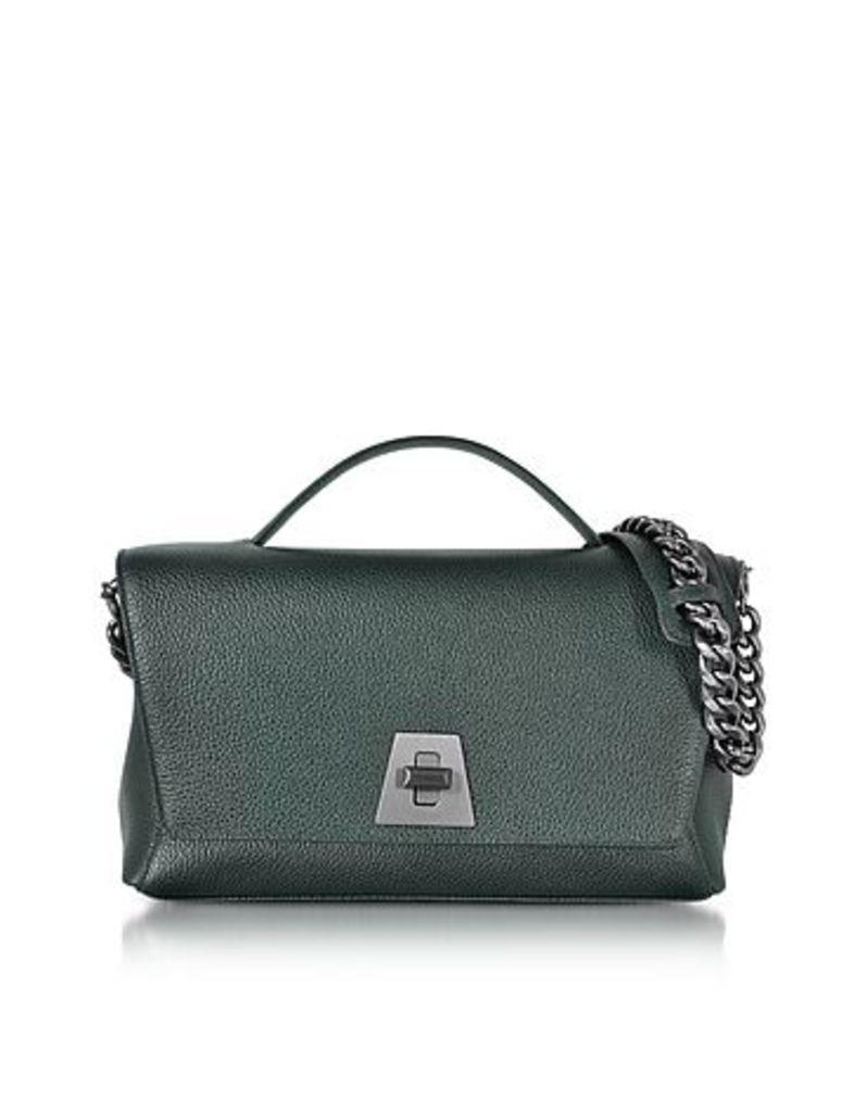 Akris - Bottle Green Cervocalf Anouk Day Bag w/Detachable Chain