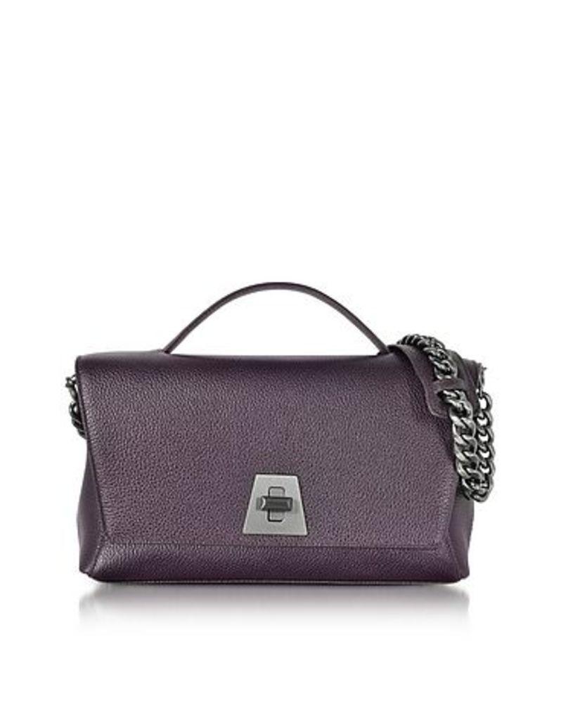 Akris - Blackberry Cervocalf Anouk Day Bag w/Detachable Chain