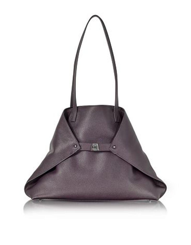 Akris - Blackberry Cervocalf Ai Medium Shoulder Bag