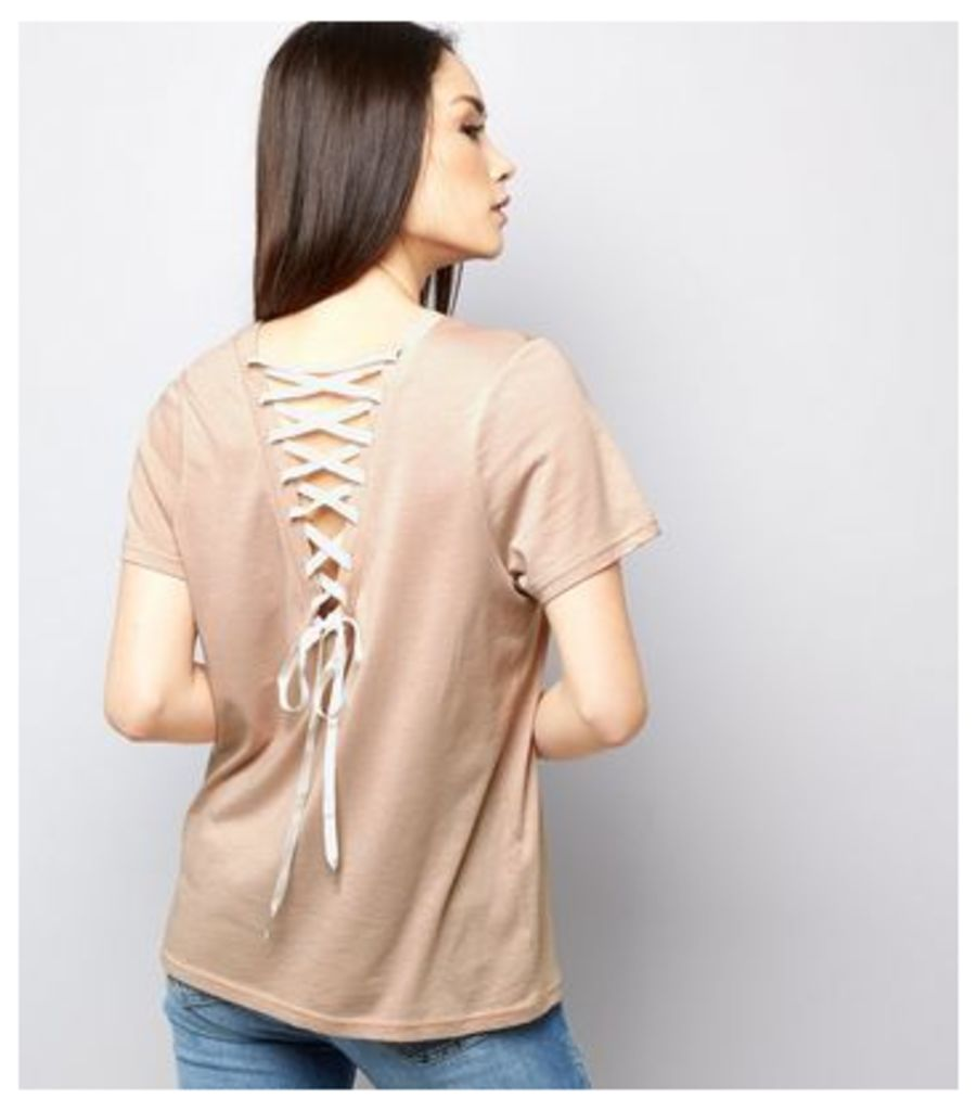 Light Brown Lace Back Short Sleeve T-Shirt