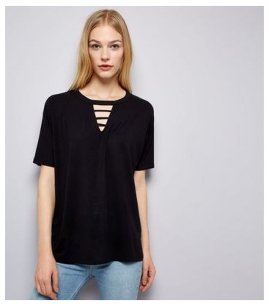 Black Ladder Front T-Shirt