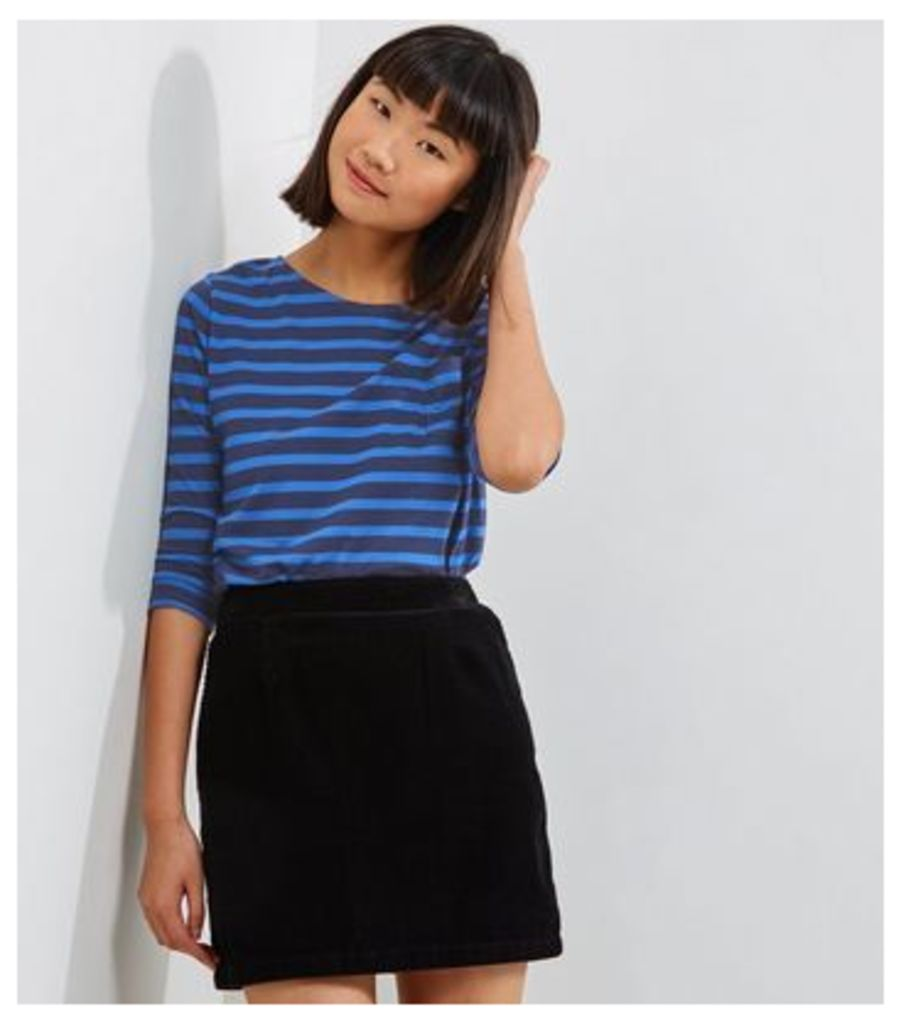 Blue Stripe 3/4 Sleeve Top