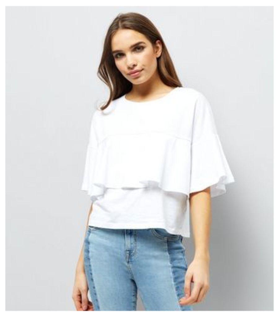 White Frill Trim Short Sleeve T-shirt