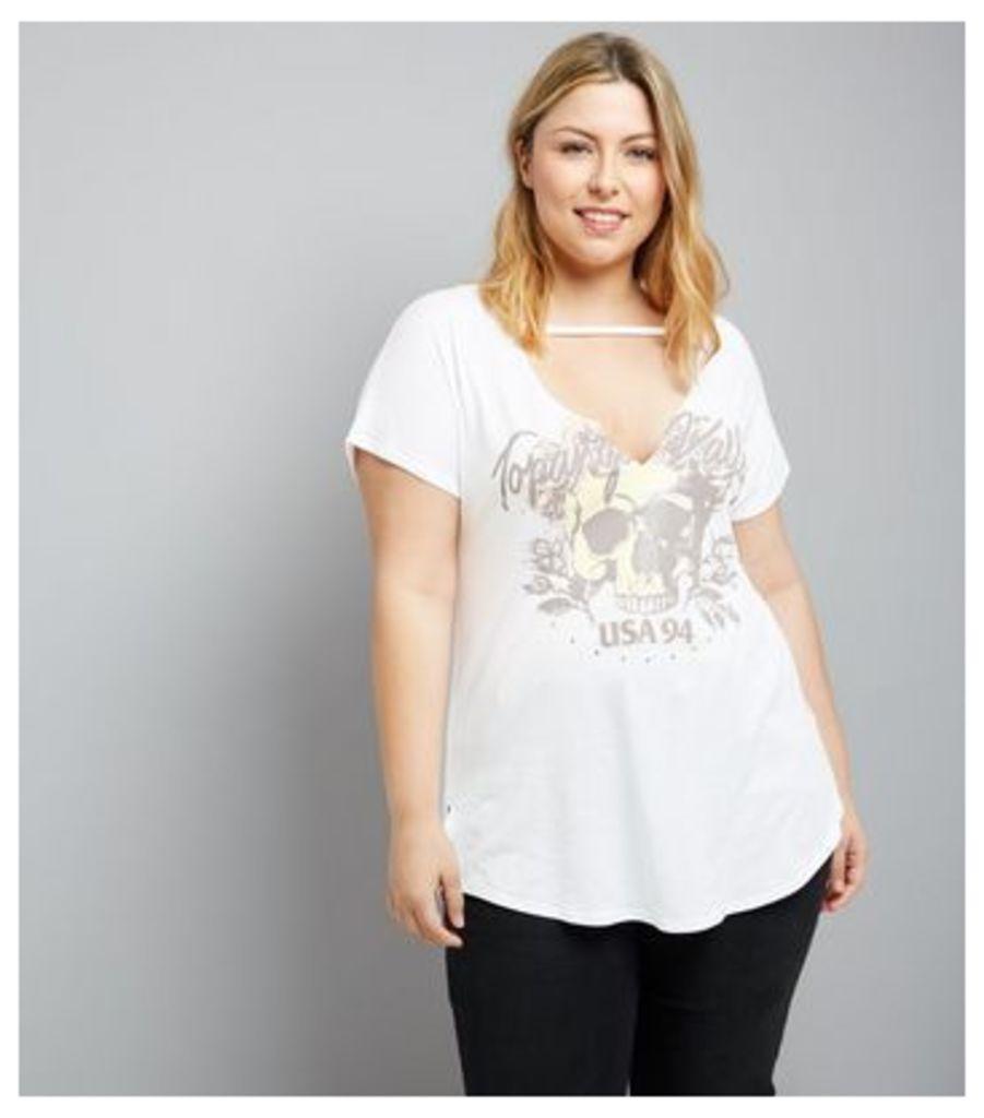 Curves White Choker Neck Studded Rock T-Shirt