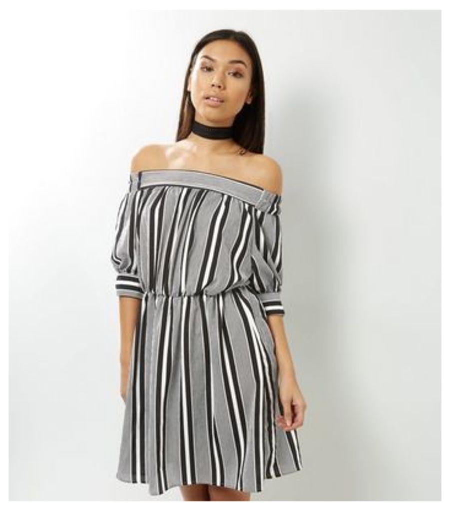 Black Stripe Bardot Neck Dress