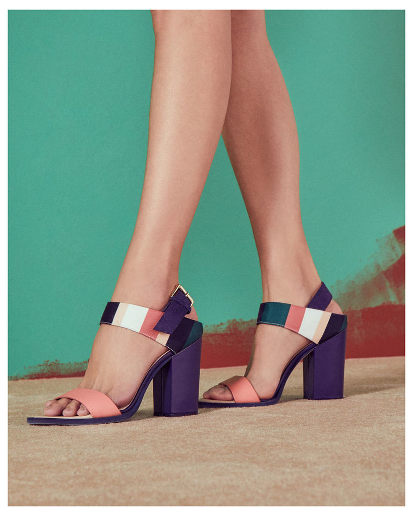 Ted Baker Block heeled buckle sandals Coral