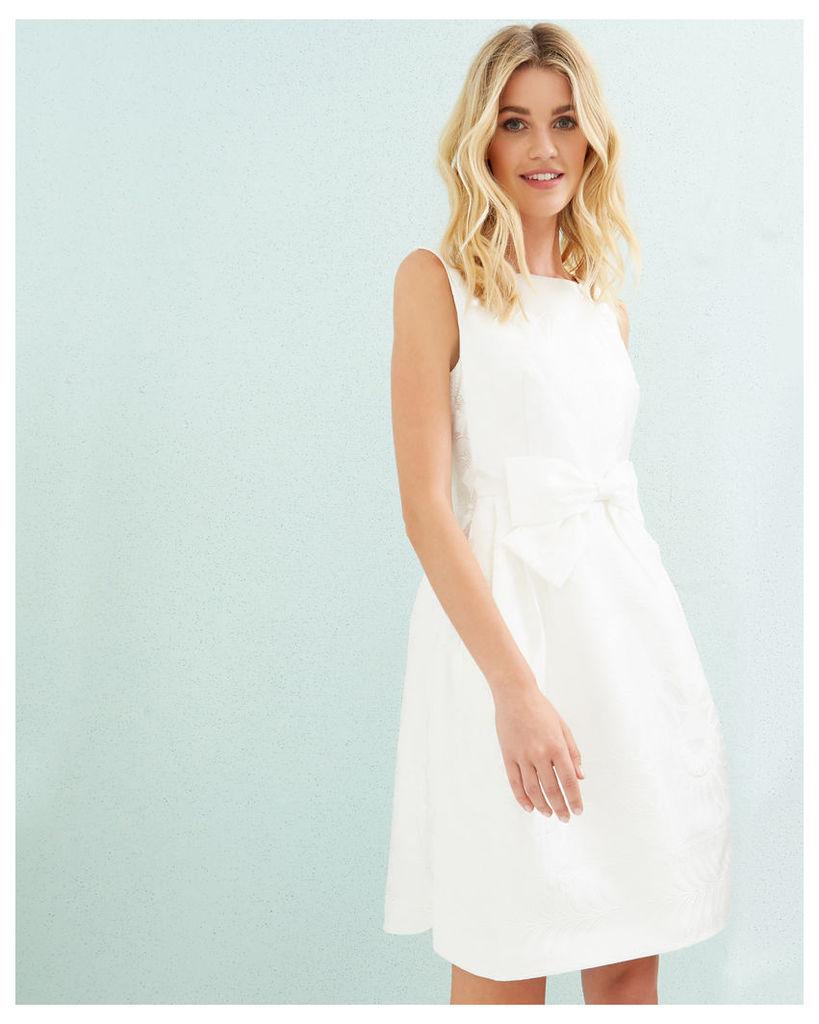 Ted Baker Jacquard bow detail dress White