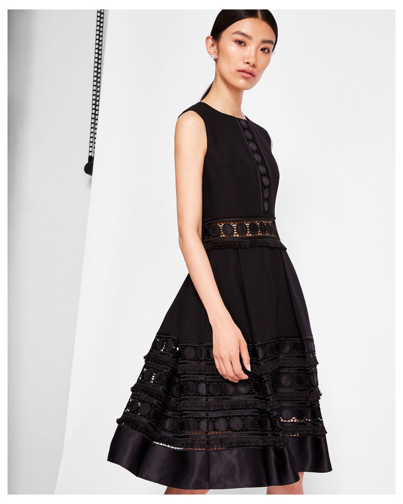 Ted Baker Lace detail textured dress Black