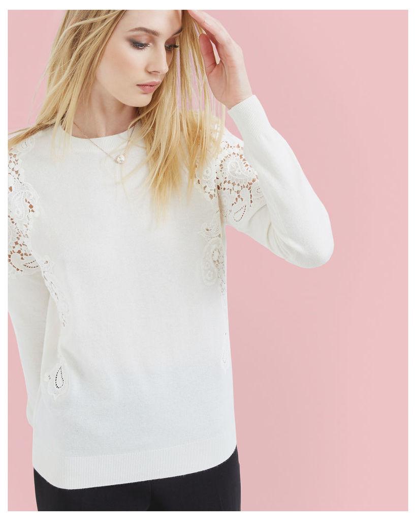 Ted Baker Lace jaquard sweater Ecru