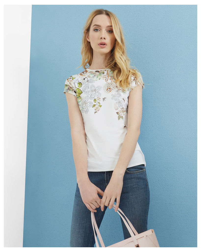 Ted Baker Gem Gardens fitted T-shirt Ivory