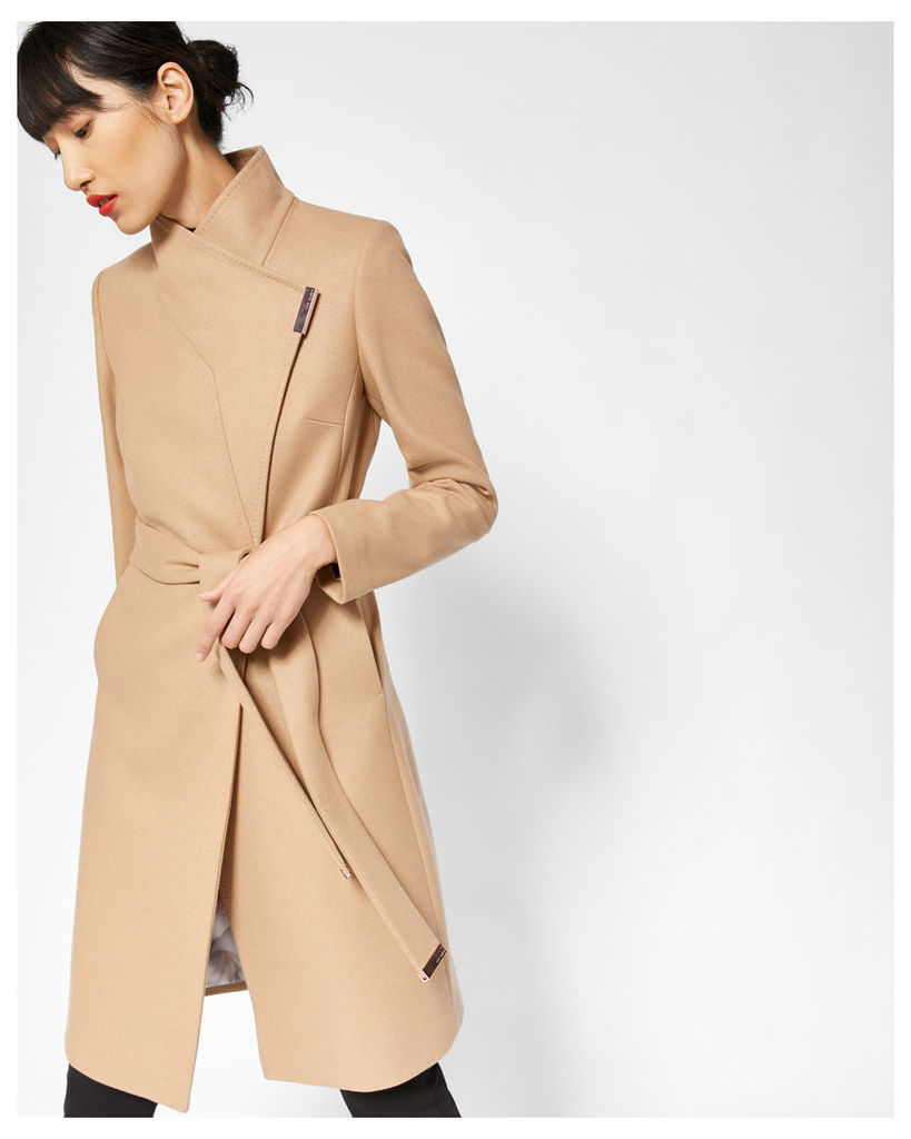 Ted Baker Cashmere-blend wrap front coat Camel