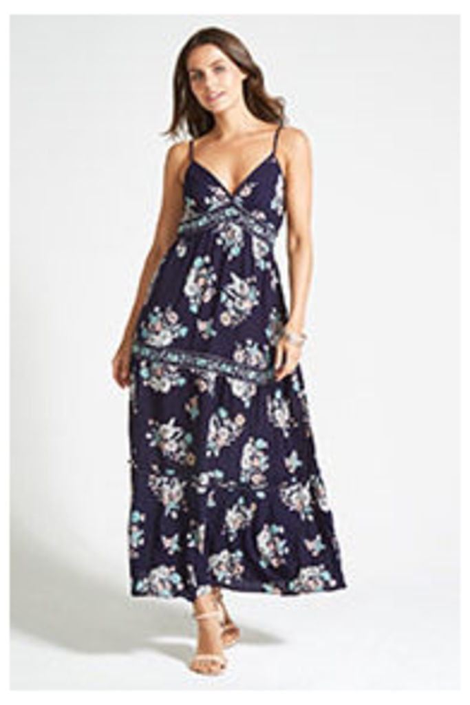 Navy Floral Print Embroidery Tiered Maxi Dress