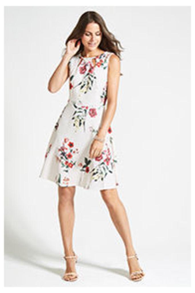 White Flower Print Skater  Dress