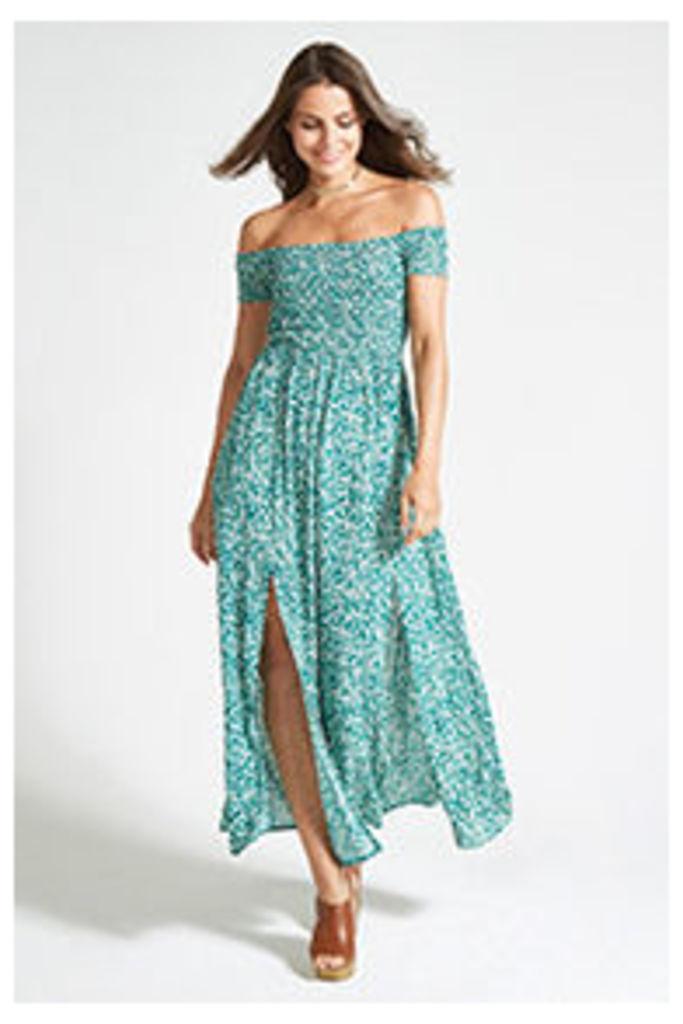 Green Ditsy Floral Gypsy Maxi Dress