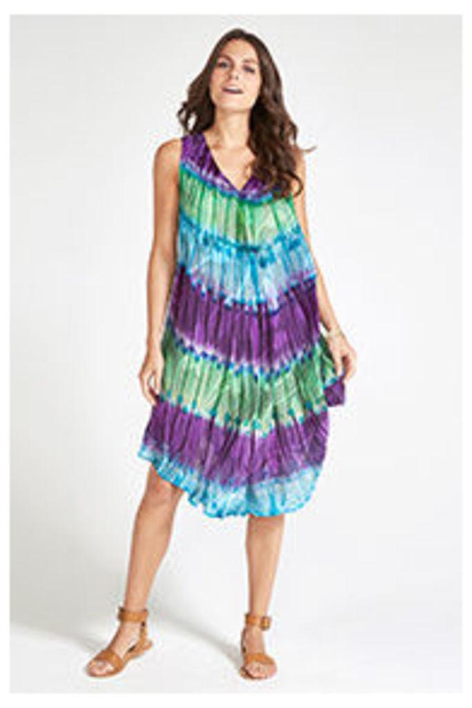 Blue Batik Tie Dye Stripe Print Hem Midi Dress