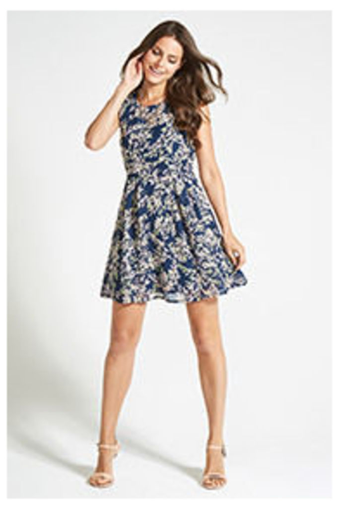 Navy Oriental Leaves Print Structured Dress