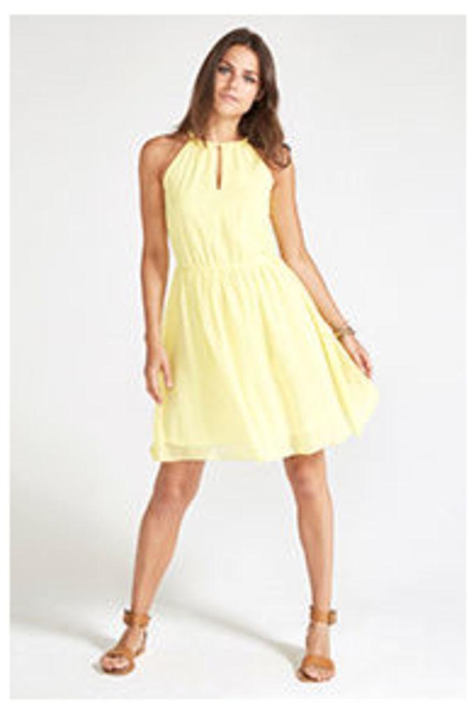 Yellow Grecian Neckline Midi Dress