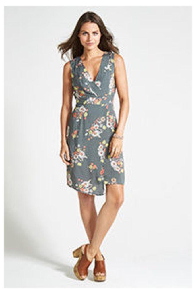 Khaki Floral Print Wrap Dress