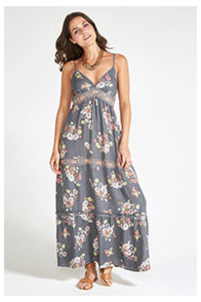 Khaki Floral Print Embroidery Tiered Maxi Dress