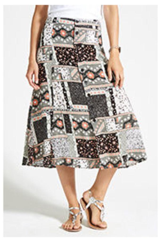 Multi-coloured Patchwork Print Midi Skirt