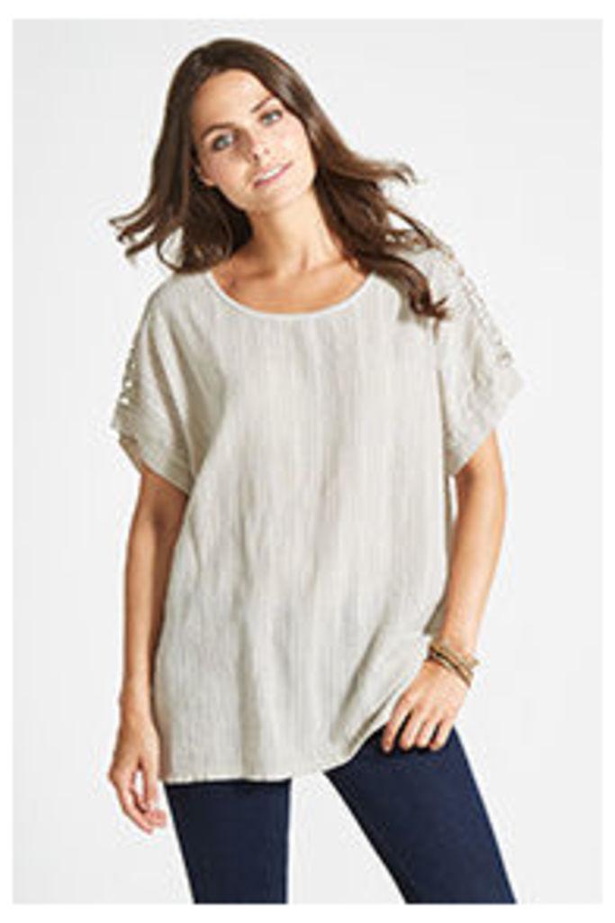 Stone Linen Blend Crochet Shoulder T-shirt