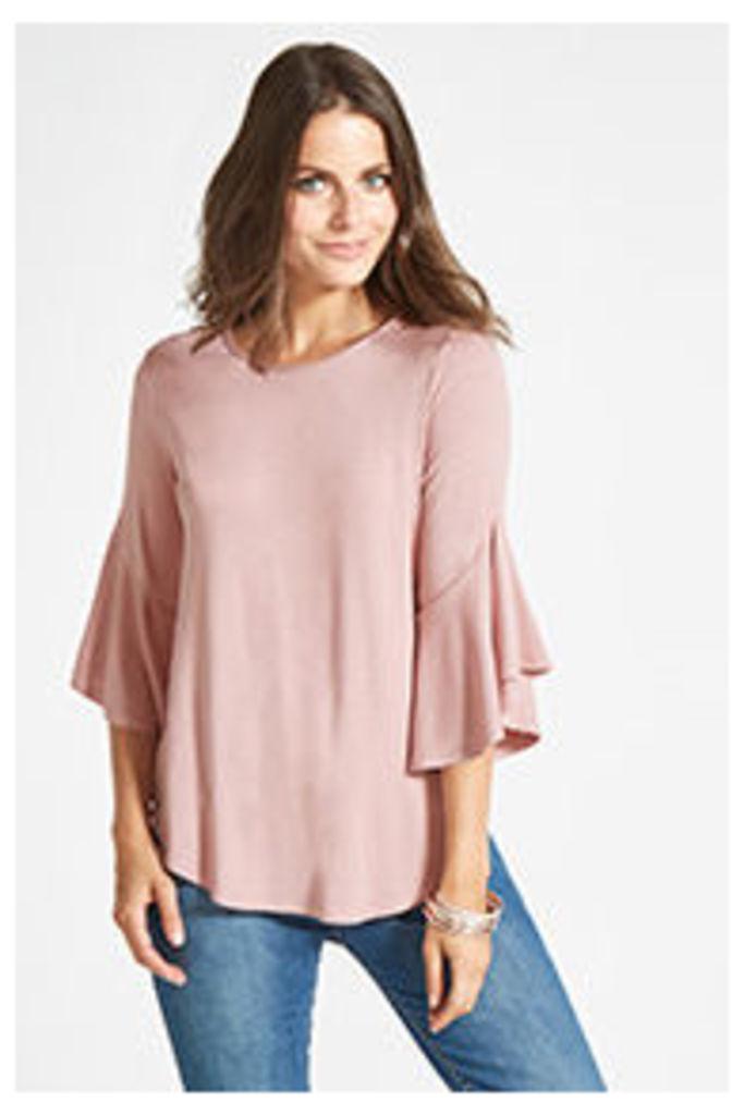 Pink Plain Flute Sleeve Jersey  Blouse