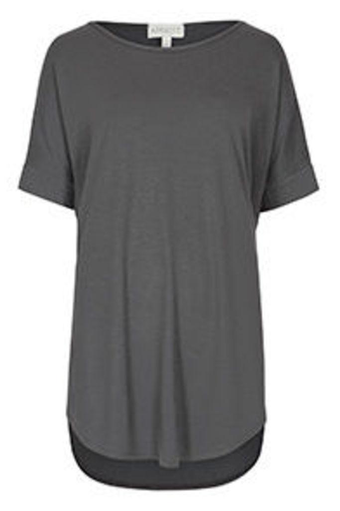 Grey Basic Oversized Rounded Hem T-shirt