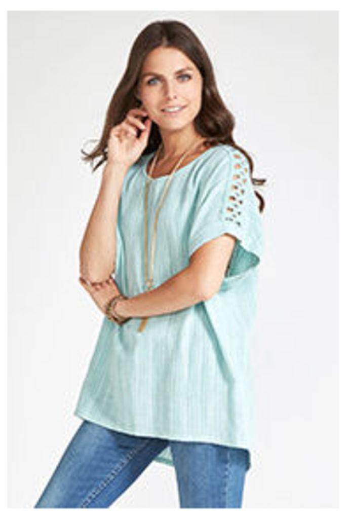 Green Linen Blend Crochet Shoulder T-shirt