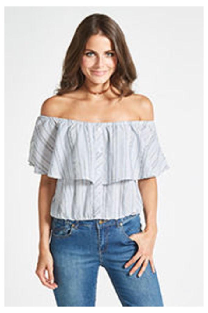 Blue Stripe Ruffle Bardot Top