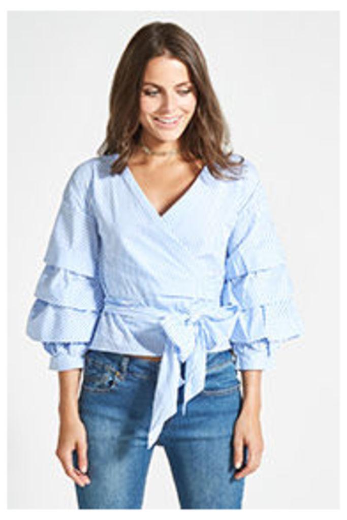Blue Stripe Wrap Blouse