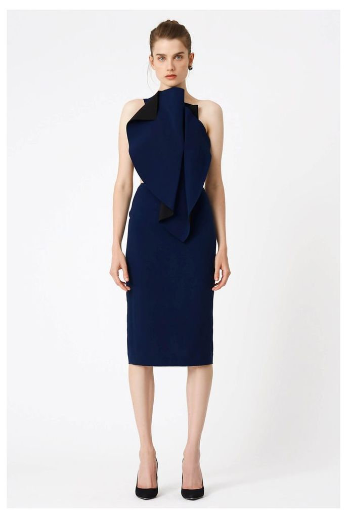 Austine Structured Midi Dress - Deep Marine / Black
