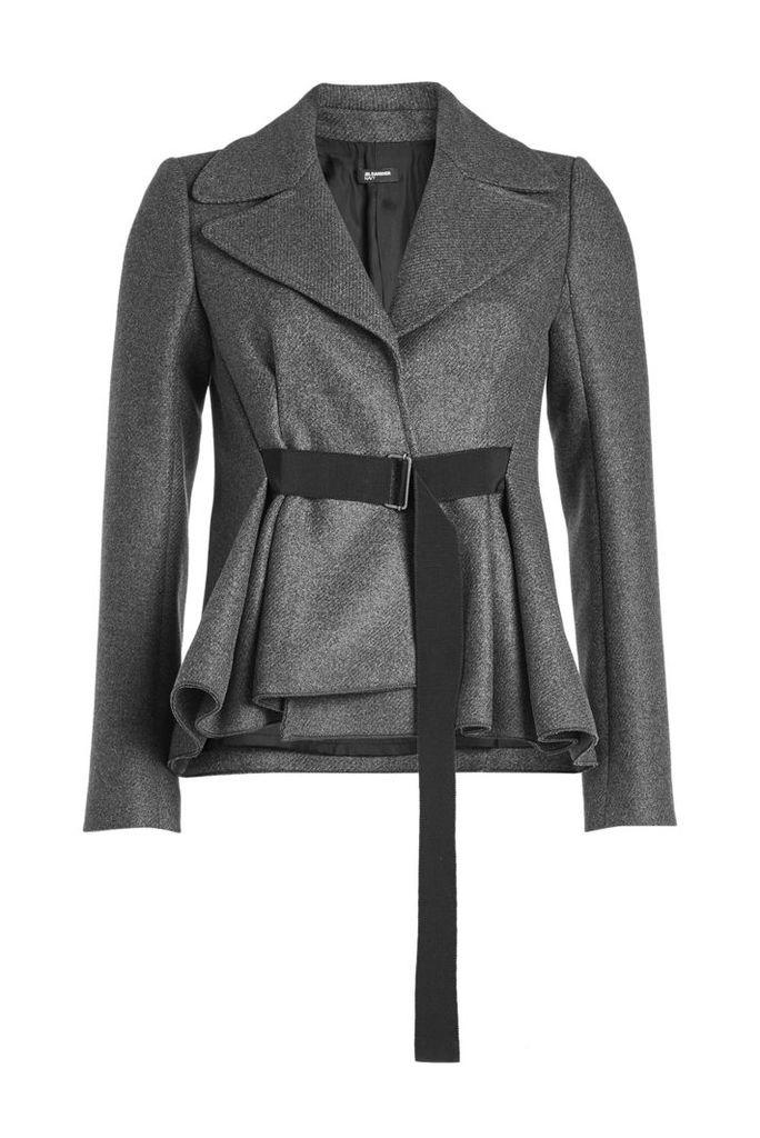Jil Sander Navy Belted Tweed Jacket with Wool