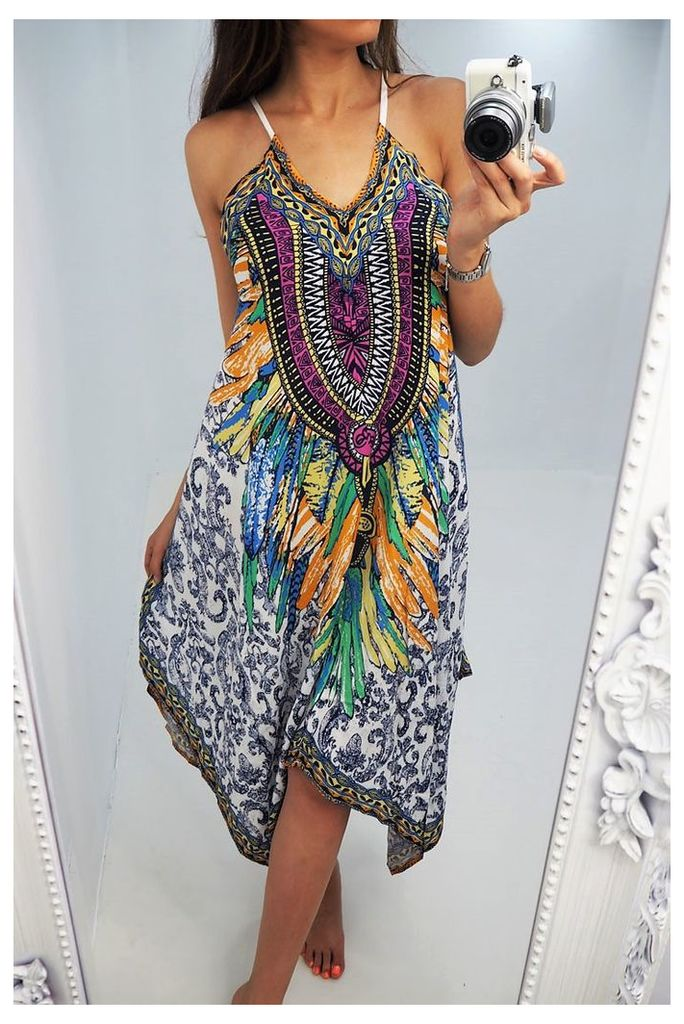Clarey printed drape summer dress