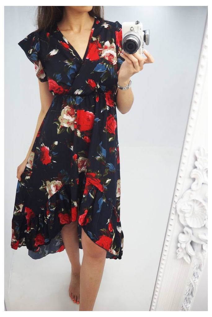 Kellis floral printed dipped hem maxi dress